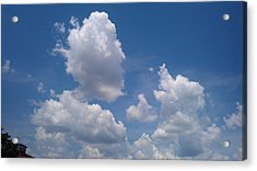 The Cloud Moustachioed Man And His Puppy Acrylic Print by Abhilasha Borse
