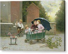 The Coach Ride Acrylic Print by Charles Bertrand DEntraygues