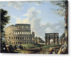 The Colosseum And The Arch Of Constantine Acrylic Print by Giovanni Paolo Panini