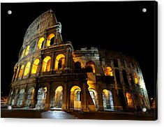 The Colosseum At Night Acrylic Print by Jeremy Voisey
