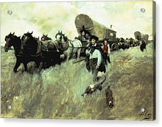 The Connecticut Settlers Entering Acrylic Print by Howard Pyle