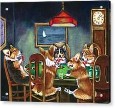 The Corgi Poker Game Acrylic Print by Lyn Cook