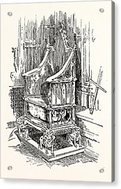 The Coronation Chair And Stone Of Destiny Westminster Abbey Acrylic Print by English School
