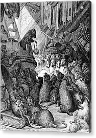 The Council Held By The Rats Acrylic Print by Gustave Dore