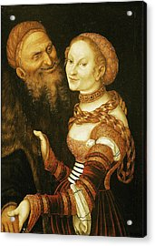 The Courtesan And The Old Man, C.1530 Oil On Canvas Acrylic Print