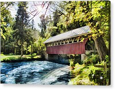 The Covered Bridge At The Red Mill Acrylic Print