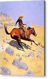 The Cowboy Acrylic Print by Fredrick Remington
