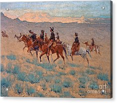 The Cowpunchers Acrylic Print by Frederic Remington