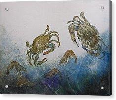 The Crabby Couple Acrylic Print by Nancy Gorr