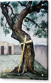Da216 The Cross And The Tree By Daniel Adams Acrylic Print