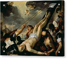 The Crucifixion Of Saint Peter, C.1660 Oil On Canvas Acrylic Print by Luca Giordano
