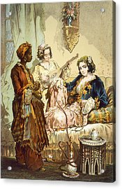 The Cup Of Coffee Two Women Taking Acrylic Print by Amadeo Preziosi