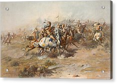 The Custer Fight  Acrylic Print by War Is Hell Store