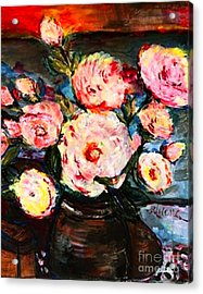 Acrylic Print featuring the painting The Dancer's Peonies by Helena Bebirian
