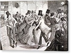The Dancing Rooms, Plate 3 Of The Acrylic Print by George Cruikshank