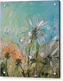 The Dandelions Acrylic Print by Solomoon Art Studio