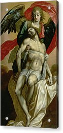 The Dead Christ Supported By An Angel  Acrylic Print by Jacques de Backer