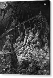 The Dead Sailors Rise Up And Start To Work The Ropes Of The Ship So That It Begins To Move Acrylic Print by Gustave Dore