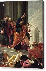The Death Of Sapphira And Ananias, C.1632 Oil On Canvas Acrylic Print
