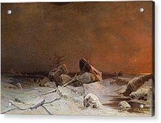 The Debacle Oil On Canvas Acrylic Print by Arseniy Ivanovich Meshchersky