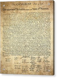 The Declaration Of Independence Acrylic Print by Daniel Hagerman