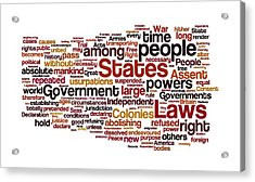 The Declaration Of Independence Acrylic Print by Florian Rodarte