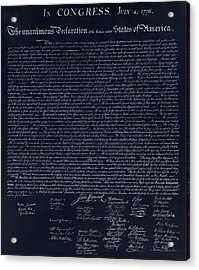 The Declaration Of Independence In Negative  Acrylic Print by Rob Hans