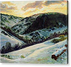 The Devils Dyke In Winter, 1996 Acrylic Print by Robert Tyndall
