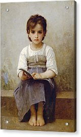 The Difficult Lesson Acrylic Print by William Bouguereau