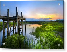 The Dock Acrylic Print by Debra and Dave Vanderlaan