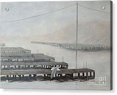 The Docks Acrylic Print by Gilles Delage