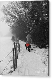 Acrylic Print featuring the photograph The Dog In The Red Coat by Vicki Spindler