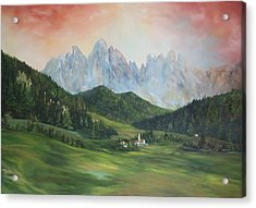 Acrylic Print featuring the painting The Dolomites Italy by Jean Walker