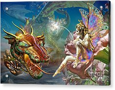 The Dragon And The Fairy Acrylic Print by Adrian Chesterman