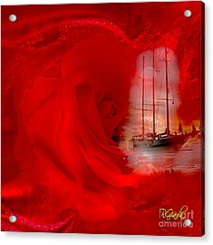 Acrylic Print featuring the digital art The Dreaming Rose - Fantasy Art By Giada Rossi by Giada Rossi