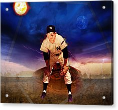 The Duality Of Mickey Mantle American Hero Acrylic Print by Retro Images Archive