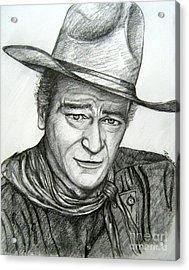 Acrylic Print featuring the drawing The Duke John Wayne by Patrice Torrillo