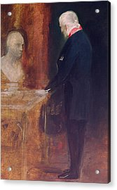 The Duke Of Wellington Studying A Bust Of Napoleon Acrylic Print by Charles Robert Leslie