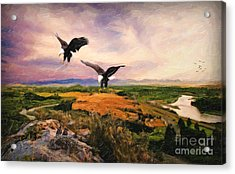 Acrylic Print featuring the digital art The Eagle Will Rise Again by Lianne Schneider