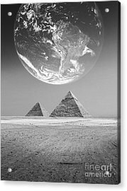 The Earth With Egyptian Pyramids  Acrylic Print by Mohamed Elkhamisy