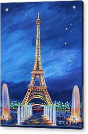 The Eiffel Tower And Fountains Acrylic Print by John Clark