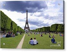 The Eiffel Tower And The Champ De Mars. Paris. France Acrylic Print by Bernard Jaubert