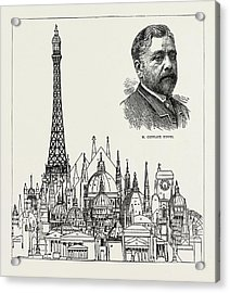 The Eiffel Tower At The Paris Exhibition As Compared Acrylic Print by Litz Collection