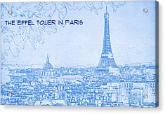 The Eiffel Tower In Paris - Blueprint Drawing Acrylic Print by MotionAge Designs