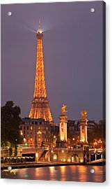 The Eiffel Tower Lit Up At Night Acrylic Print