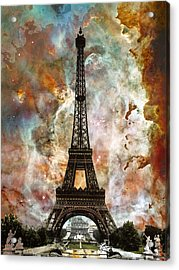 The Eiffel Tower - Paris France Art By Sharon Cummings Acrylic Print by Sharon Cummings