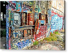 The Electrical Panel For The Old Train Roundhouse At Bayshore Near San Francisco And The Cow Palace Acrylic Print by Jim Fitzpatrick