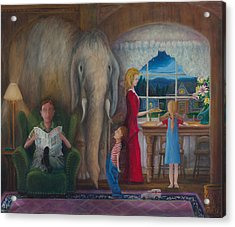 Acrylic Print featuring the painting The Elephant Ambulance And Cookies by Matt Konar