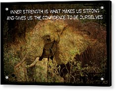 The Elephant - Inner Strength Acrylic Print by Absinthe Art By Michelle LeAnn Scott