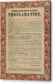 The Emancipation Proclamation Acrylic Print by American School